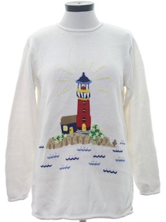 1990's Womens Cheesy Lighthouse Sweater
