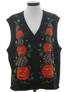 1990's Womens Cheesy Halloween Sweater Vest