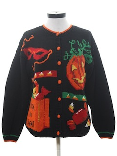 1990's Womens Cheesy Halloween Sweater