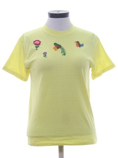 1970's Womens Hand Embroidered T-Shirt