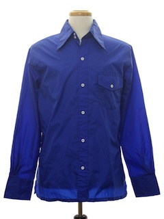 1970's Mens Solid Disco Style Ski Shirt