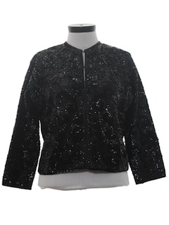 1960's Womens Sequined Cocktail Cardigan Sweater