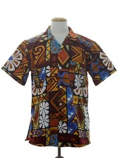 1970's Mens Mod Hawaiian Shirt