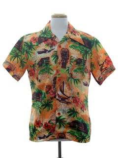 1970's Mens Mod Hawaiian Shirt