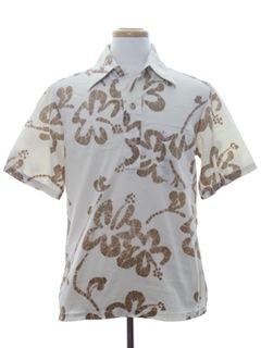 1970's Mens Mod Pullover Hawaiian Surf Shirt