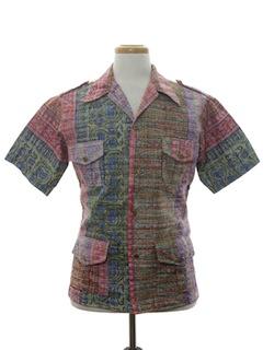 1970's Mens Mod Reverse Print Hawaiian Shirt Jac
