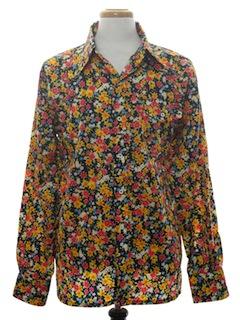 1970's Mens Print Disco Style Ski Shirt