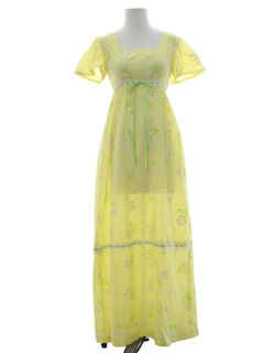 1970's Womens Pow Flower Hippie Dress