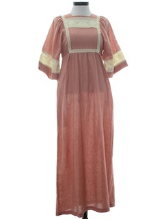 1970's Womens Prairie Hippie Maxi Dress
