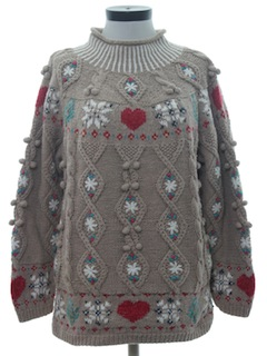 1980's Womens Cheesy Ugly Valentine Holiday Sweater