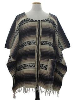 1970's Unisex Serape Poncho Hippie Jacket
