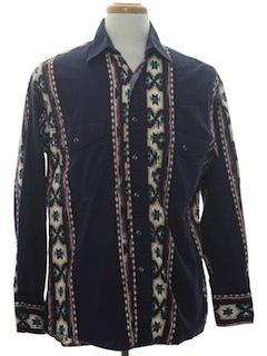 1980's Mens Geometric Southwestern Print Western Shirt