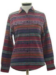 1980's Womens Totally 80s Geometric Print Western Shirt
