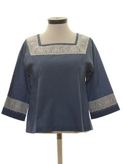1970's Womens Hippie Chambray Shirt