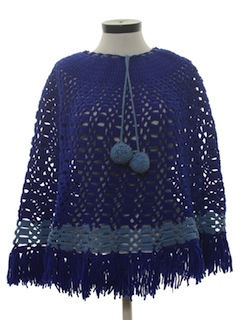 1970's Womens Crocheted Poncho Sweater