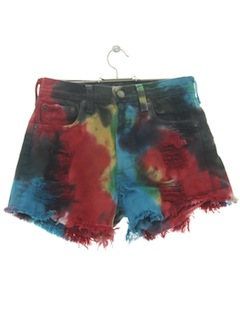 1980's Womens Tie Dye Denim Shorts