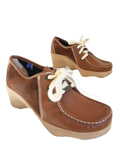 1970's Womens Accessories - Suede Moccasin Shoes