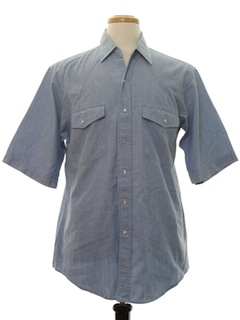 1980's Mens Chambray Solid Western Shirt