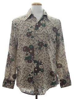 1970's Mens Print Disco Style Hippie Cotton Blend Shirt