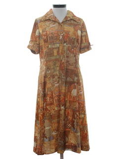 1970's Womens Mod Print Day Dress