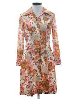 1970's Womens Pow-Flower Print Mod Dress