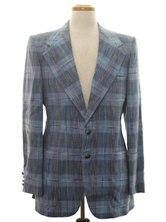 1970's Mens Disco Sport Coat Plaid Blazer Jacket