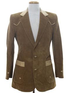 1970's Mens Western Blazer Corduroy Sport Coat Jacket