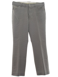 1970's Mens Checkered Plaid Flared Disco Pants