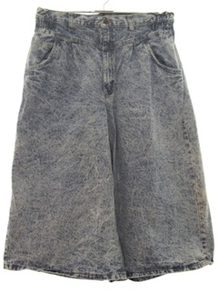 1980's Womens Totally 80s Acid Washed Denim Skort Skirt