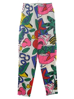 1980's Womens Totally 80s Designer Print Pants