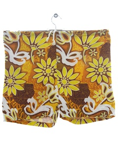 1960's Mens Mod Hawaiian Board Shorts