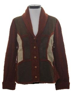 1970's Womens Leather Cardigan Sweater