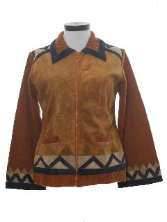 1970's Womens Leather Sweater Coat Jacket