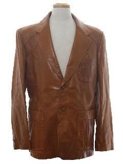 1980's Mens Leather Blazer Sport Coat Jacket