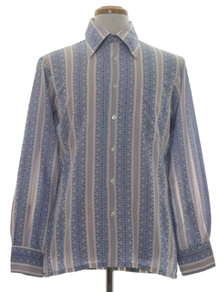 1970's Mens Mod Cotton Blend Print Disco Style Sport Shirt