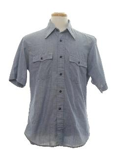 1970's Mens Western Style Chambray Hippie Shirt