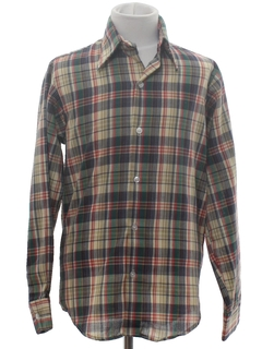 1970's Mens/Boys Plaid Shirt