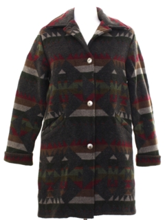 1980's Womens Southwestern Style Wool Car Coat Jacket