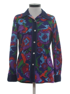 1970's Womens Knit Hippie Shirt