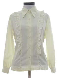 1970's Womens Frilly Ruffled Secretary Shirt