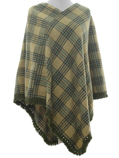 1970's Womens Wool Hippie Poncho Sweater