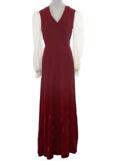 1960's Womens Hippie Style Velvet Prom Maxi Dress