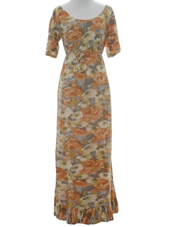 1970's Womens Hippie Summer Maxi Dress
