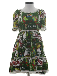 1960's Womens Hawaiian Square Dance Mini Dress