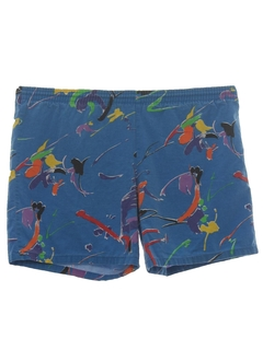 1980's Mens Totally 80s Print Swim Shorts