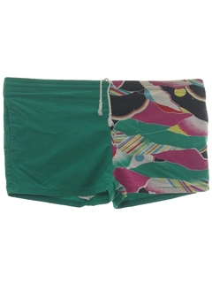 1980's Mens Totally 80s Print Swim Short Shorts