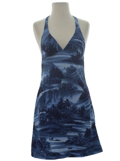 1980's Womens Hawaiian Style Mini Halter Dress