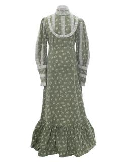 1960's Womens Jessica Mcintock Style Hippie Prairie Dress