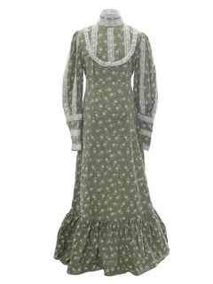 1960's Womens Jessica Mcintock Style Hippie Prairie Maxi Dress