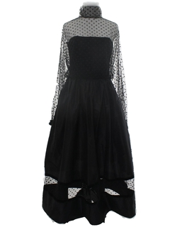 1980's Womens Goth Prom Or Cocktail Maxi Dress